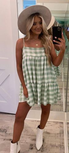 These Three Boutique Green Gingham Dress