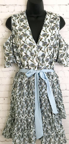 Anthropologie Foxidox 'Lexie' Cold Shoulder floral Wrap Dress size large