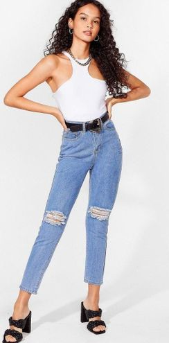 Nasty Gal high waisted distressed mom jeans