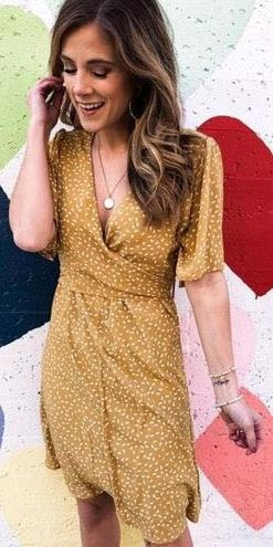 She & Sky Yellow Dotted Dress