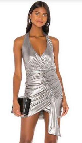 superdown Metallic Halter Mini Dress