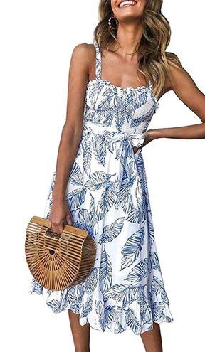 Blue And White Feather Print Dress Tea midi