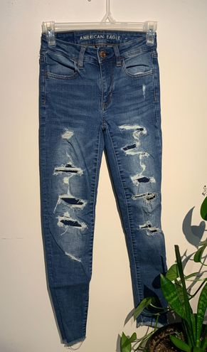 American Eagle Outfitters Covered Ripped High Rise Jegging