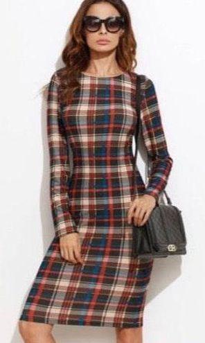 Women's Plaid Bodycon Dress