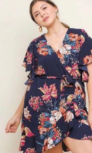 Umgee Flutter Sleeve Wrap Dress