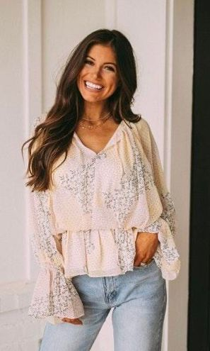 These Three Boutique Floral Peplum Top