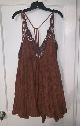 Free People Brown Crochet Dress