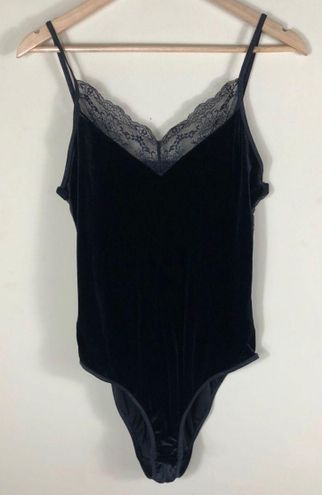 Ambrielle Black Velvet Lace Bodysuit