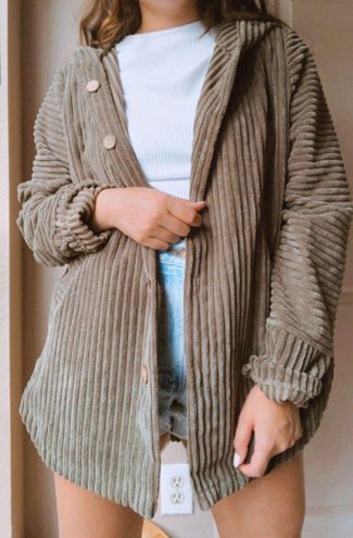 CHUNKY CORDUROY RIBBED BUTTON UP SHACKET