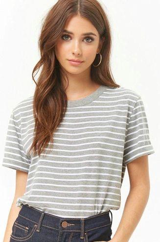 Forever 21 Gray Striped Short Sleeve T-shirt