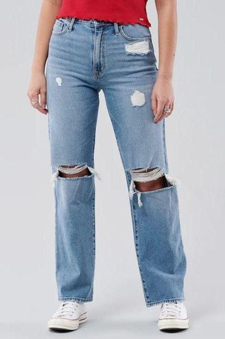 Hollister Ultra High Rise Ripped Dad Jeans