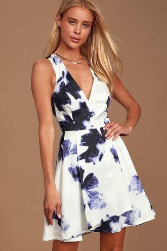 Lulus Blue And Ivory Print Dress