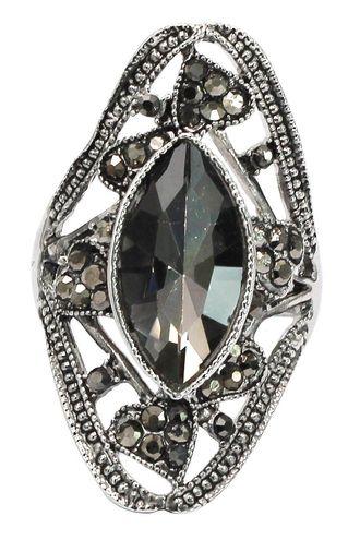 Black crystal silver ring