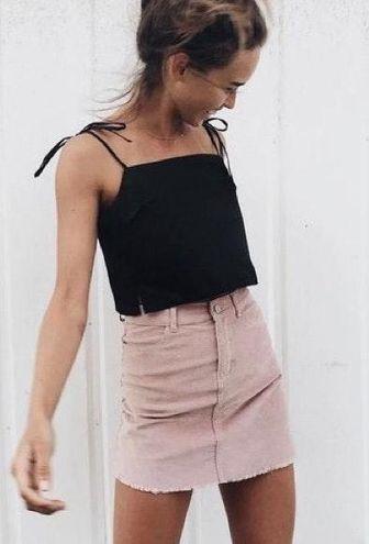 Brandy Melville John Galt Pink Corduroy Skirt