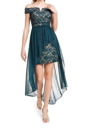 Morgan & Co Juniors' Off-The-Shoulder Asymmetrical Gown