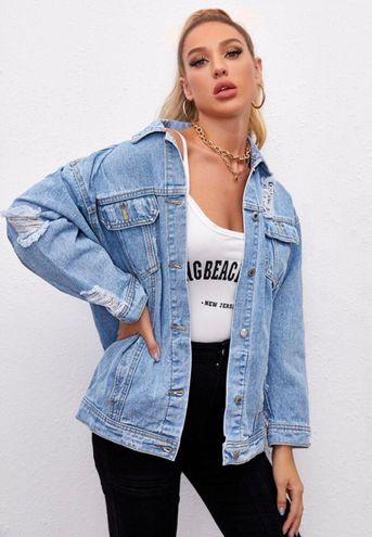 SheIn Distress Oversized Jean Jacket