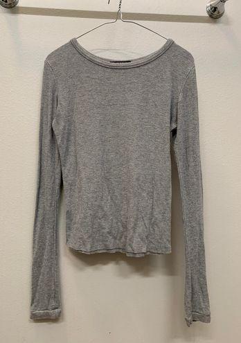 Brandy Melville Ribbed Gray Long Sleeve Top