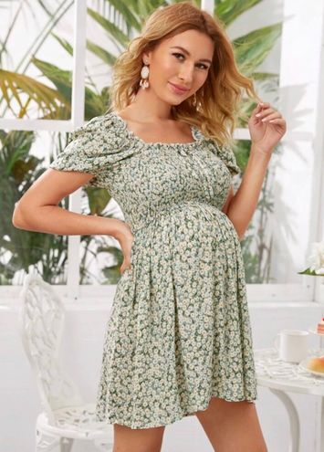 SheIn Maternity Tie Front Floral Dress