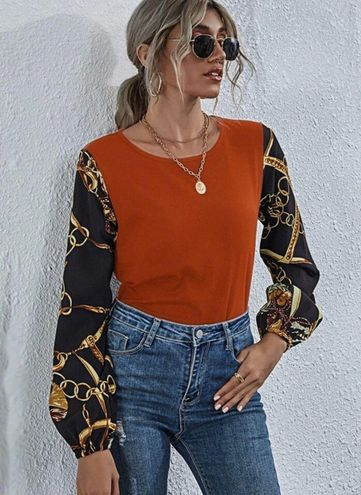 SheIn Two Tone Gold Chain Sleeve Top