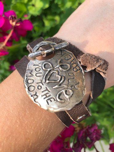 Leather/Silver Wrap Bracelet