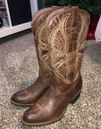 Synthetic Leather Cowgirl Boots