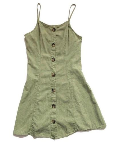 SheIn button front khaki green mini dress