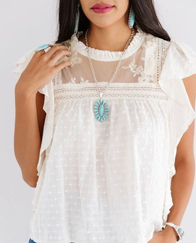 Olivaceous {} CREAM LACE EMBROIDERED SLEEVELESS BLOUSE