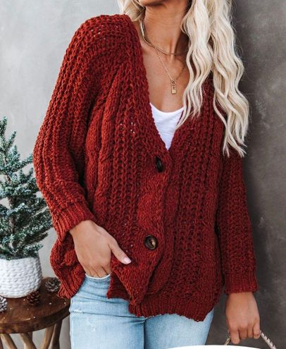 VICI NEW  KEELY CHENILLE BUTTON FRONT CARDIGAN