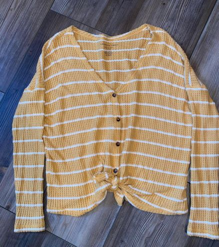 American Eagle Outfitters Yellow Striped Long Sleeve