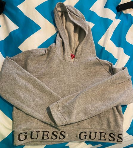 Guess Gray Long Sleeve Cropped Hoodie