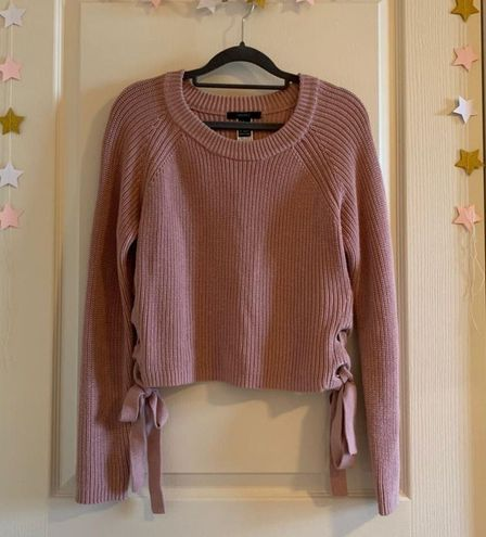 Forever 21 Pink Cropped Sweater With Tie Sides
