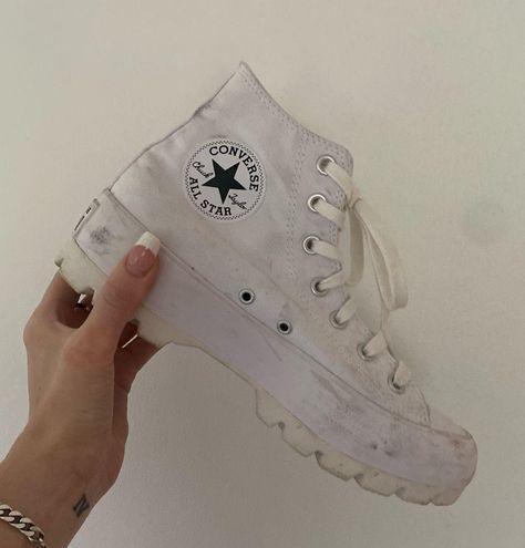 Converse White Platform Lugged