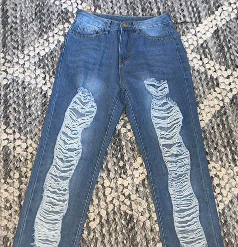 Blue Mom Ripped Jeans