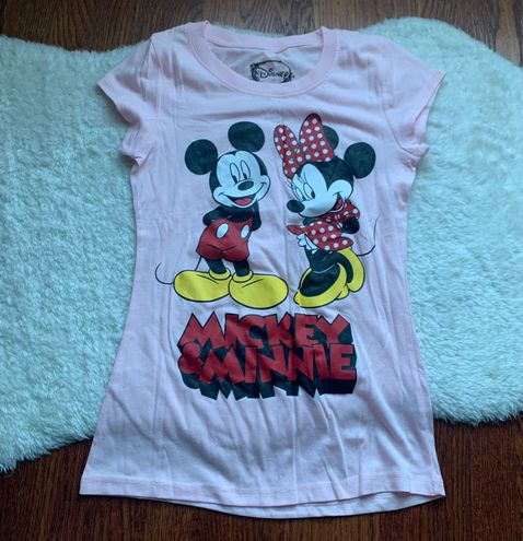 Disney land Pink Mickey & Minnie Mouse Graphic Tee T-Shirt Size Small NWOT