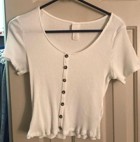 H&M White Ribbed Button Up Crop Top