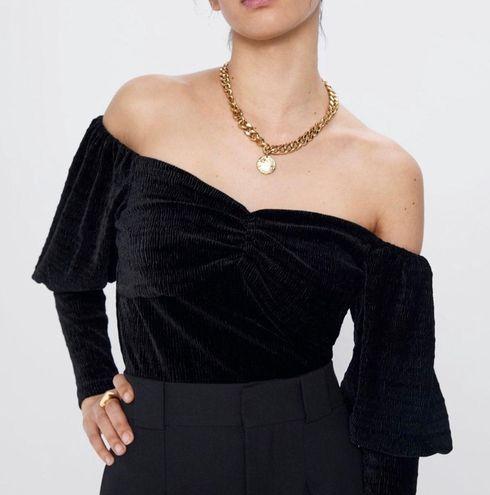 ZARA Black Velvet Cropped Off The Shoulder Top
