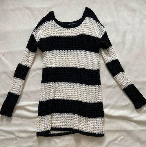 Long Black And White Striped Sweater Top