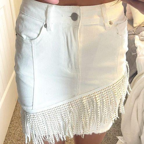 White Denim Fringe Skirt