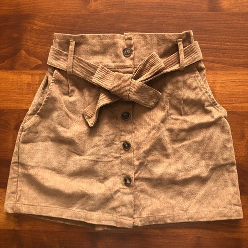 Zaful Khaki Ribbed Button Up Tie Skirt