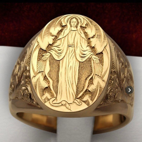 18K Solid Yellow Gold Virgin Mary Ring