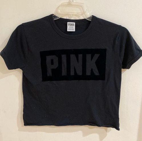 "PINK - Victoria's Secret Black Crop Top With Velvet ""PINK"" Logo"