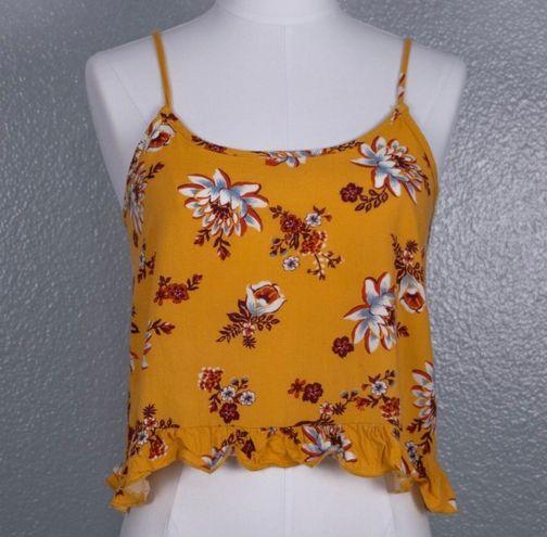 Full Tilt Yellow Floral Crop Tank Top