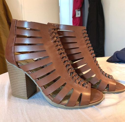 indigo. Brown Chunky Heels