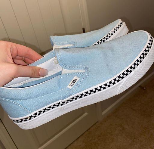 Vans Baby Blue Checkered Slip On