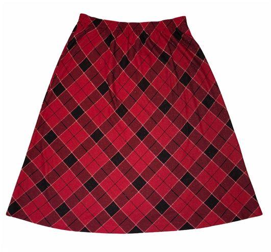 American Vintage Vintage 80's Dark Academia red plaid maxi skirt