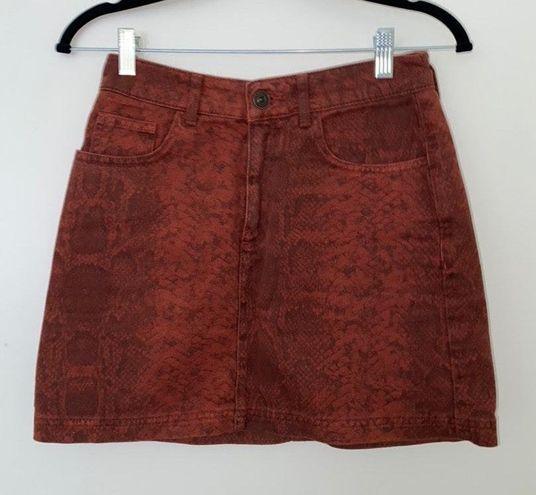 Urban Outfitters BDG Burnt Orange Snake Skin Skirt
