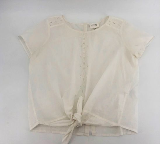 Tie Front Eyelet Blouse