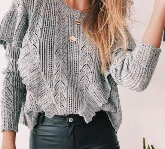 Boutique NEW!  Bohemian Gray Ruffle Sweater Top