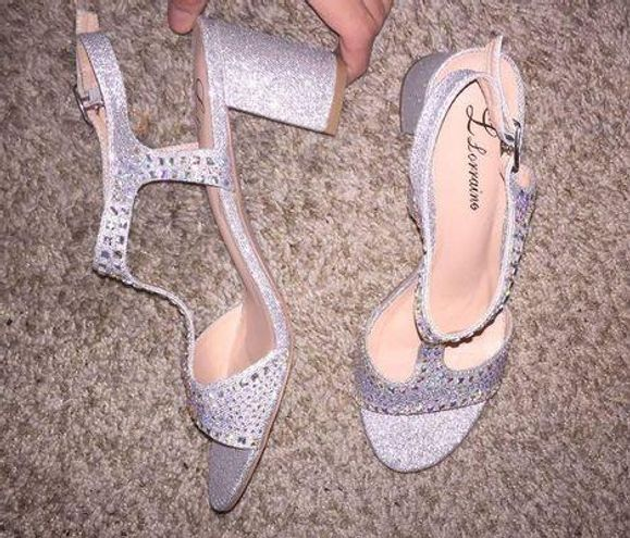 L Loraine LLorraine Silver Beaded High Heels
