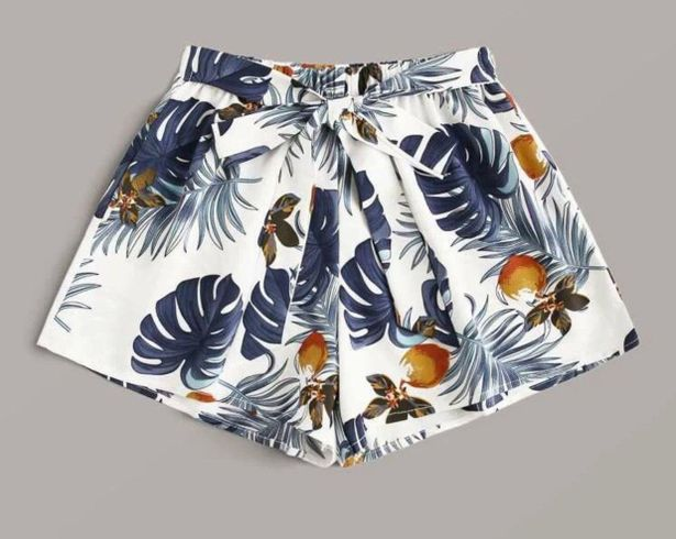 SheIn Tropical Print Tie Belted Shorts